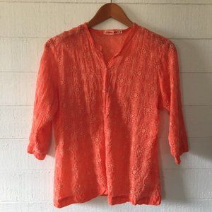 Johnny Was Coral Eyelet Button-Up Top MEDIUM